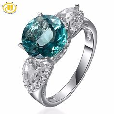 2017 Hutang 5.62ctw Natural Green Fluorite & Topaz Gemstone Solid 925 sterling-silver-jewelry Luxury ring for woman