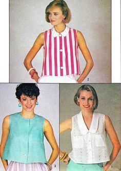 1980s Blouse Pattern Simplicity 6910 Sleeveless by paneenjerez, $8.00