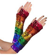 RAINBOW SEQUIN Fingerless Gloves Mardi Gras Parade Gay Pride LGBT
