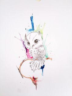 owl + watercolor