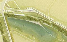 RMP & Fischer Architekten (2015): Grünzug Nordost und BUGA 2023, Mannheim (DE), via competitionline.com Landscape Design Plans, Landscape Sketch, Landscape Architecture Design, Landscape Drawings, Urban Landscape, Architecture Site Plan, Masterplan Architecture, Architecture Graphics, Site Plan Design