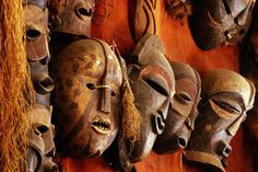 Masks in craft shop, Nairobi, Kenya