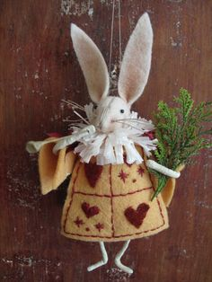 Folk art. Part of an Alice in Wonderland series of felted ornaments.