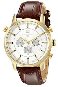 Tommy Hilfiger Gold Tone Watch Brown Leather Ban- 10 Years Warranty Water Resist #TommyHilfiger