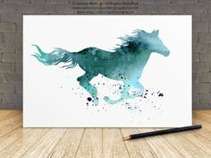 Horse Watercolor Print Turquoise Home Decor Animal Art Print Teal Silhouette Hey, I found this really awesome Etsy listing at. Watercolor Horse, Watercolor Animals, Watercolor Cards, Watercolor Print, Watercolor Paintings, Turquoise Home Decor, Turquoise Art, Animal Silhouette, Horse Drawings
