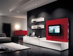 imagenes de muebles de salon modernos - Mueble de salon moderno , color blanco y negro brillo Due