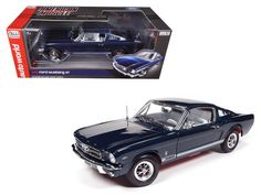 1965 Ford Mustang GT 2+2 Fastback Caspian Blue Limited Edition to 1002pcs 1/18 Diecast Model Car by Autoworld