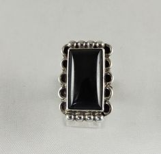 Classic Navajo Indian sterling silver ring with black onyx, circa 1960s.