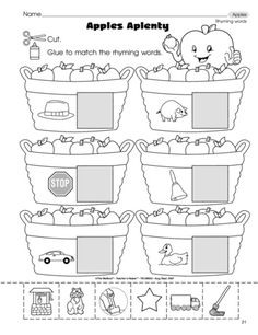 """Apples Aplenty"" Rhyming Worksheet (free; from The Mailbox)"