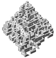 """Saatchi Art is pleased to offer the art print, """"Tower of Babel,"""" by Istvan Orosz. Original Printmaking: other on Paper. Size is 0 H x 0 W x 0 in. Escher Kunst, Escher Art, Mc Escher, Turm Von Babylon, Maze Drawing, Isometric Drawing, Tower Of Babel, Generative Art, Architecture Drawings"""