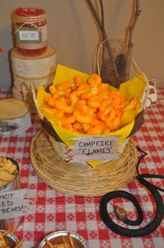 """Party Time pin 11 Food table (not dessert table) ideas: Chips-- creatively named """"campfire flames"""" Food Truck, Camping Parties, Camping Snacks, Camping Themed Party, Camping Ideas, Camping Breakfast, Camping Stuff, Hunting Theme Parties, Camping Crafts"""
