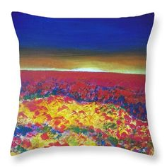 Landscape Throw Pillow featuring the painting Wild Poppy Field by Vesna Antic