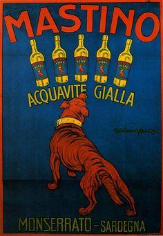 Vintage Italian Posters ~ #illustrator  #Italian #vintage #posters ~ Luigi Caldanzano - Acquavite Mastino