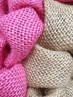 Spring Burlap Wreath – Pink and Natural Colored Burlap Puffs  | followpics.co