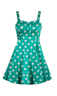 Retro Polka Dot Swing Dress - Mint This full skirted style polka dot dress features a fitted waist line, sweetheart bust, and zipper closure in back.