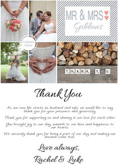 Wedding Thank You Card Note Postcard Engagement Bridal Shower Printable Or Printed Cards Personalized