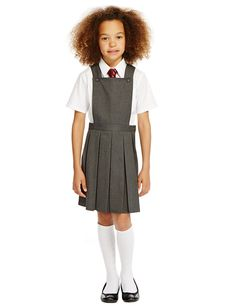 M/&S School Plus Fit Girls/' Crease Resistant Zip Pocket Trousers with Stormwear™