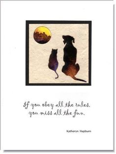 """Dog and Cat """"Friends"""" Quotation Greeting Card ~ 166Q"""