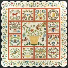 Beck, Hortense reproduction of the Rachel Meyer quilt Antique Quilts, Vintage Quilts, Quilting Projects, Quilting Designs, Wool Quilts, Appliqué Quilts, Quilt Border, Sampler Quilts, Green Quilt