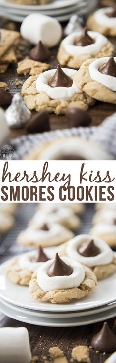Hershey Kiss S'mores Cookies - These s'mores cookies start with a graham cracker filled cookie base, topped with a gooey marshmallow, and a chocolate kiss - for your favorite s'mores flavors in adelicious and cute cookie!