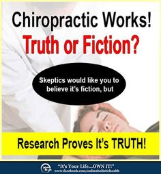 "Setting The Record Straight!  To use a modern computer term, when it comes to chiropractic, there are the unfortunate few who simply have not ""updated"" their old program. Continue Article: http://www.onlineholistichealth.com/chiropractic-works-truth-fiction/"