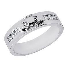 Claddagh Wedding Band Round Diamonds 0.30 tcw. Channel Set In 14K White Gold