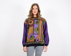 Vintage Purple Op Art Sweater Geomatric Print by ShopTwitchVintage