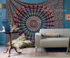 Hippy Throw Mandala Tapestry Indian Wall Hanging, tapestry, Bohemian, tapestries, Queen Bedsheet Bedspread Hippie Wall decor Wall tapestry
