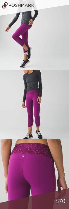 """{Lululemon} NEW Real Quick 7/8 Tight, Regal Plum NWOT: Never worn, never washed! """"Real Quick"""" tight from Lululemon in a size 4. Vibrant regal plum color. Curved hem. Luxtreme. { Super Fast Shipping / 10% Off Bundles / Reasonable Offers Welcome } lululemon athletica Pants"""
