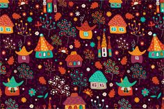 """Check out Seamless pattern """"Town"""" by Sunny_Lion on Creative Market"""