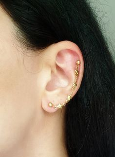 Star Chain Helix Earring, Gold Cartilage Chain Earring, Helix to Lobe Earring, Double Piercing Earring, Star Cartilage Helix Chain Earring