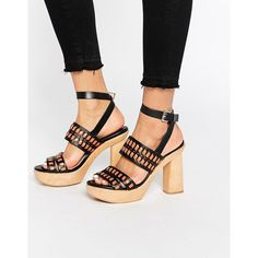 8c27edaa389 Mango Wooden Block Heel Sandal ( 130) ❤ liked on Polyvore featuring shoes
