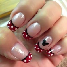 Here is Disney Nail Designs Gallery for you. Disney Nail Designs simple creative and cute disney nail art design you will love. Minnie Mouse Nails, Mickey Nails, Mickey Mouse Nail Art, Disney Mickey, Disney Cruise, Walt Disney, Disney Nail Designs, Cute Nail Designs, French Tip Nail Designs