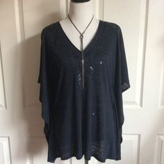 """Beautiful Embellished Navy Cape Top (Like New) Michael Michael Kors solid Navy Poncho top in excellent like new condition. Please note; in 2nd photo an embellishment catching the light. Oversized & drapes beautifully for a relaxed silhouette. Decorative embellishments are embroidered into the lightweight fabric. Pullover design with kimono sleeves. 72% linen, 28% polyester which keeps it from wrinkling. Labeled small but runs a little larger, imo. Approx 20""""B (possibly bigger...very hard to…"""