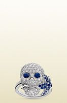 Gucci Flora ring in white gold, diamonds and sapphires