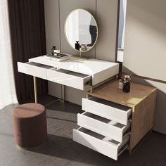 Dressing Mirror Designs, Modern Dressing Table Designs, Contemporary Dressing Tables, Diy Vanity Table, Make Up Desk Vanity, Vanity Desk, Makeup Drawer, Makeup Storage, Makeup Organization