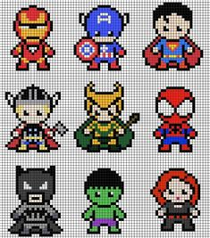 Character Marvel pearl iron activity DIY to do with children – Steckperlen Bilder – Hama Beads Perler Bead Designs, Hama Beads Design, Perler Bead Art, Perler Beads, Mini Hama Beads, Fuse Bead Patterns, Perler Patterns, Beading Patterns, Loom Patterns