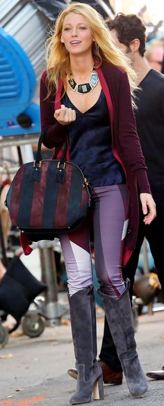 Blake Lively carrying the Burberry Orchard bag in New York