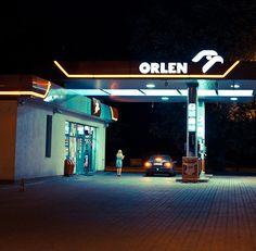 gas station. LED lighting in dark environment.
