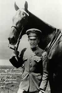 Colonel Baron Takeichi Nishi. Olympic Gold Medalist and defender of Iwo Jima. He remains Japan's only Olympic medal to date in an equestrian event (1932 Olympics, Los Angeles). He was popular among Japanese Americans, who were ostracized by American society in the 1930s. During his stay in Los Angeles, Nishi became the topic of conversation both for his love of driving convertibles around town and for becoming part of the social circle led by movie stars Mary Pickford and Douglas Fairbanks.