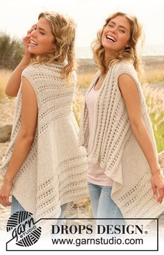 """Knitted DROPS vest with lace pattern worked sideways in """"Bomull-Lin"""". Size: S - XXXL."""