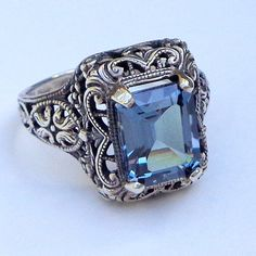 Alexandrite Victorian Sterling Silver Ring by JanesGemCreations, $119.00