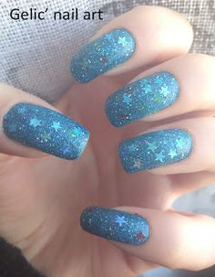 Gelic nail art: Blue textured jelly sandwich