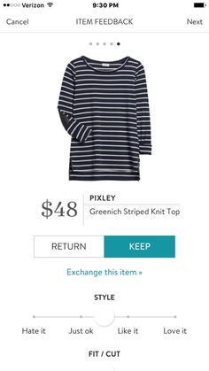 Pixley Greenich Striped Knit Top. Probably petite medium or regular small. I could use some long-sleeved shirts for underneath my olive cargo vest.