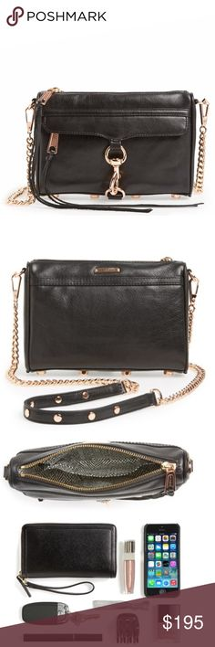 Rebecca Minkoff Mini Mac Crossbody Rebecca Minkoff Mini Mac Crossbody.  NWT.  This is a timeless bag in soft leather.  Studded metal feet.  Rose gold hardware.  Love the rose gold.  Sold out and rare/hard to find.  Perfect bag to carry on your shoulder or use as a crossbody with adjustable chain strap. Rebecca Minkoff Bags Crossbody Bags
