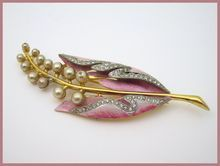 Coro enamel and faux pearl brooch