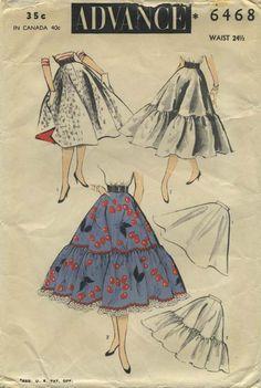 Vintage Circle Skirt Sewing Pattern | Advance 6468 | Year 1953 | Bust n/a | Waist 24½ | Hip 32