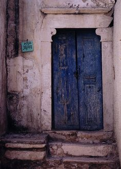 Green, blue door, entrance, doorway weathered, aged, decay, cute, architechture, photo