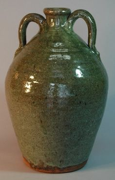 N. C. pottery jug by Burlon B. Craig, Catawba Valley, NC, hand thrown with double handles, c 1980-85, supurb glaze, impressed signature, mint condition.