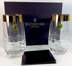 Mixology Ed Olson Gold Trim Highball Glasses Waterford Set Of 2 Boxed 14 Ounces #Waterford #Tumbler